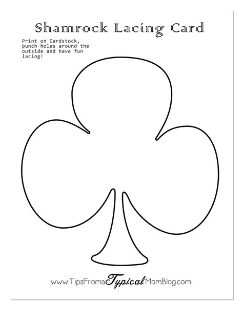 st s day preschool activities free printables 718 | Shamrock Lacing Card with Shadow