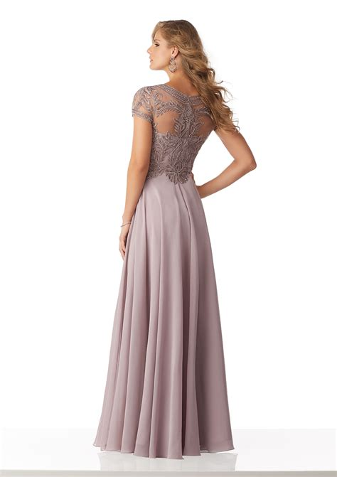 chiffon evening gown  beaded embroidery   net