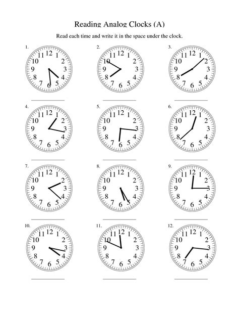 blank clock worksheet kiddo shelter