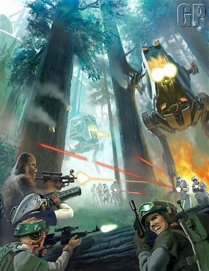 Endor Wars Star Battlefront Poster Artwork Battle