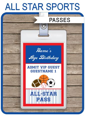 star sports party vip passes template party favors