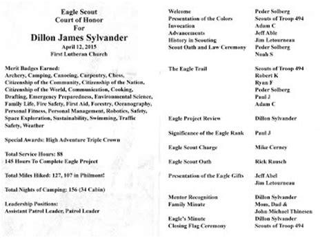 eagle scout ceremony program template dillon sylvander eagle scout court of honor program troop 494