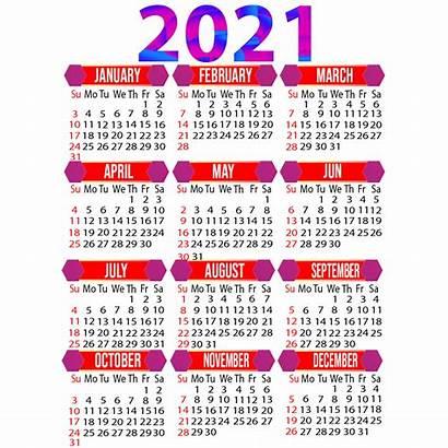 Calendar 2021 Printable Yearly Calendario Transparent Psd