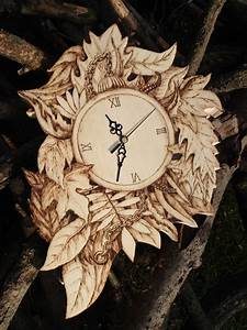 Pyrography, Wood, Wall, Clock, Wood, Burning, Forest, Edition