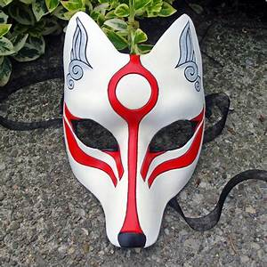 Okami Kitsune Mask...Japanese Fox Leather Mask by Merimask ...