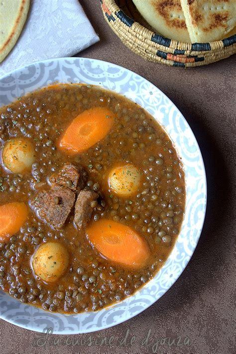 recette cuisine kabyle facile soupe de lentilles vertes algérienne en sauce