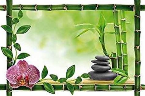decorative wall sticker trompe l oeil bamboo zen pebbles