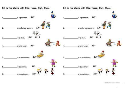 demonstrative pronouns worksheet  esl printable