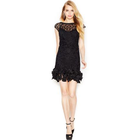 ruffle hem lace sheath dress floral lace ruffle hem sheath in black lyst