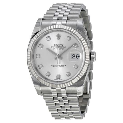Rolex Oyster Perpetual 36 mm Silver With 10 Diamonds Dial ...