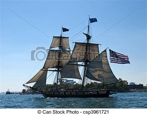 Tall Ship With American Flag Sailing Flying