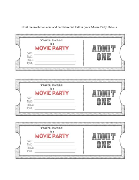 dinner ticket template word diy movie ticket party invitation template free download
