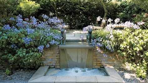 outdoor pool landscaping cascading water feature randle siddeley