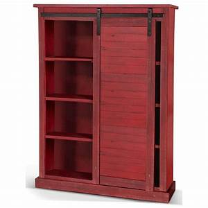 Sunny, Designs, Sunny, Office, Rustic, Bookcase, With, Sliding, Barn, Door
