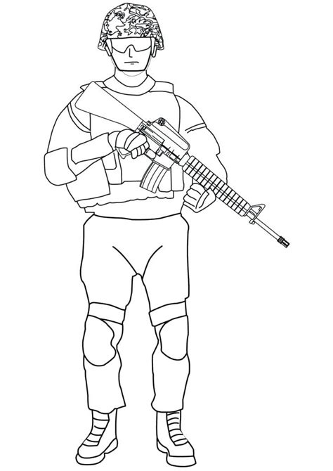 soldier holding  gun coloring page  printable coloring pages  kids