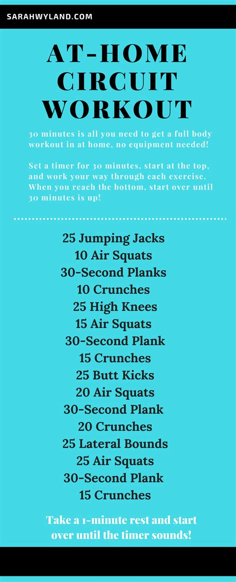 home  minute circuit workout  equipment needed