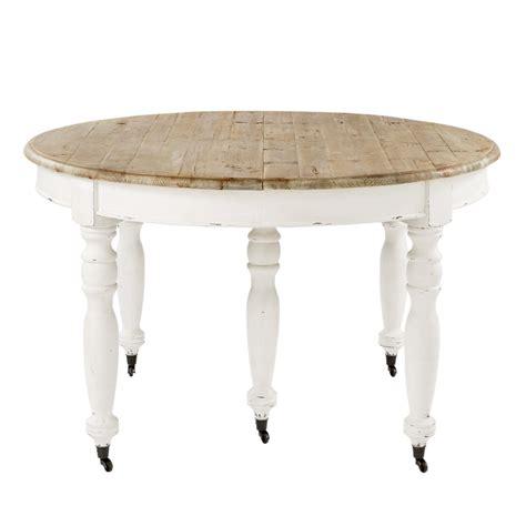 table de salle  manger  rallonges  roulettes en bois   cm provence maisons du monde