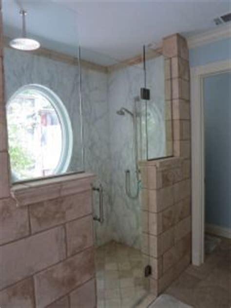 simple bathroom remodel ideas half wall showers on half wall shower half