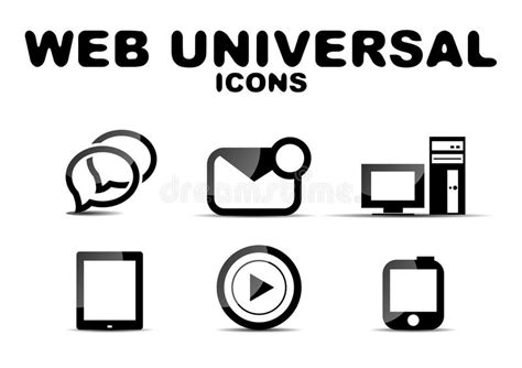 Black Glossy Web Universal Icon Set Stock Vector