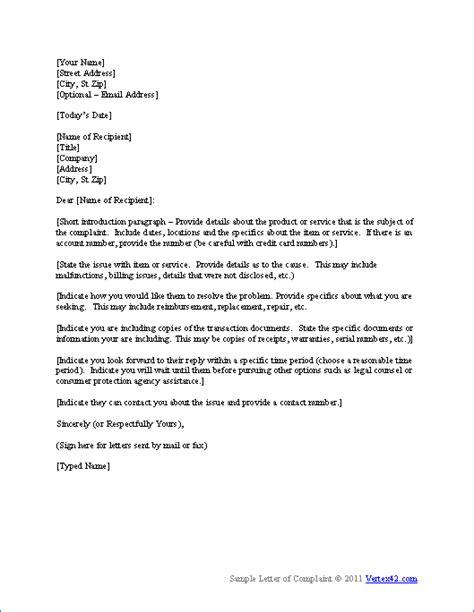 complaint letter template  vertexcom