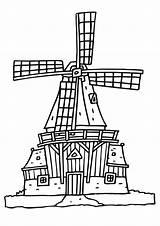 Mill Coloring Wind Molen Molens Kleurplaat Drawing Nederland Tuesday Printable sketch template