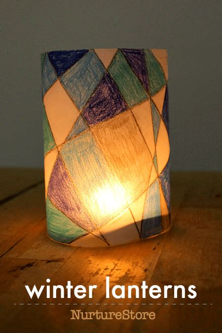 winter paper lantern craft project  cool colors