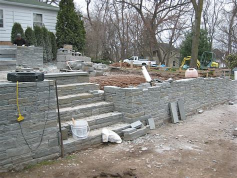 Dry-set Stone Walls Meet Masonry Stone Steps