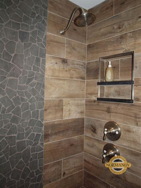 stone  wood porcelain tile   shower normandy