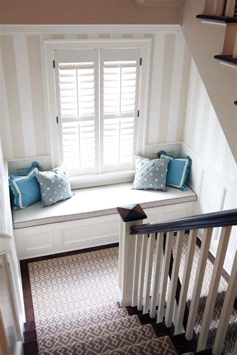 24.) Add a simple window seat to the landing of your