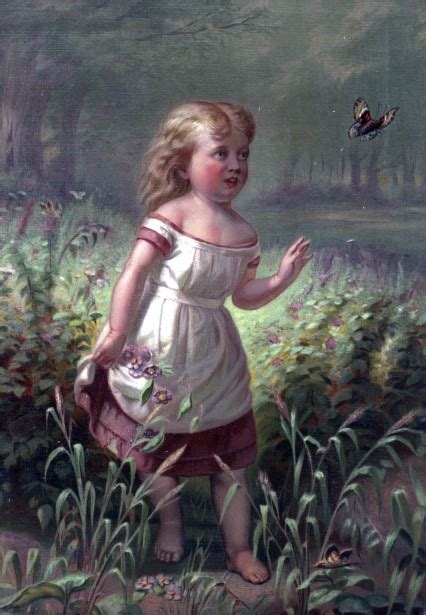child chasing butterfly painting  stock photo public