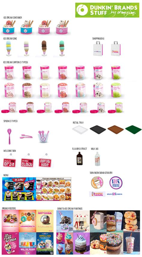 Oh My Sims 4 ? Dunkin' Brands Stuff (60 Items)  Sims 4