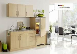 Single Einbauküchen Mit Elektrogeräten : sch ne single k che mit k hlschrank 180 cm breit buche dekor ~ Markanthonyermac.com Haus und Dekorationen