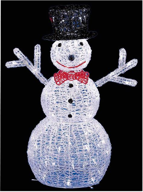 76cm led light up acrylic snowman statue in outdoor