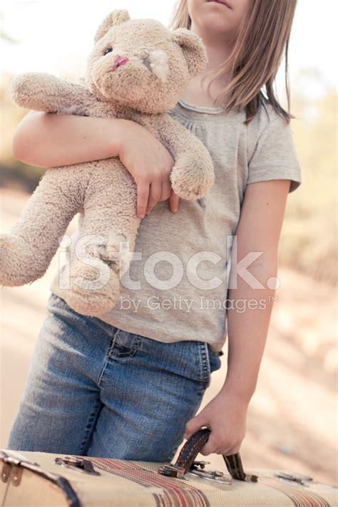 runaway  homeless girl  suitcase  teddy