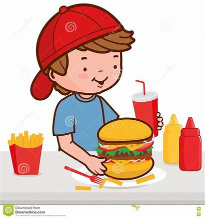 Hamburger Fast Boy Eating Restaurant Eten Jongen
