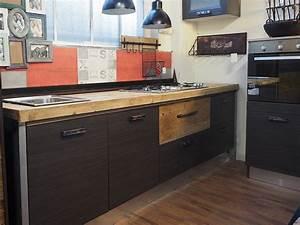 Cucina moderna industrial con top legno massello completa for Cucine industrial legno