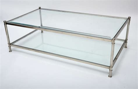 two tier glass coffee table mid century modern french chrome and glass two tier coffee