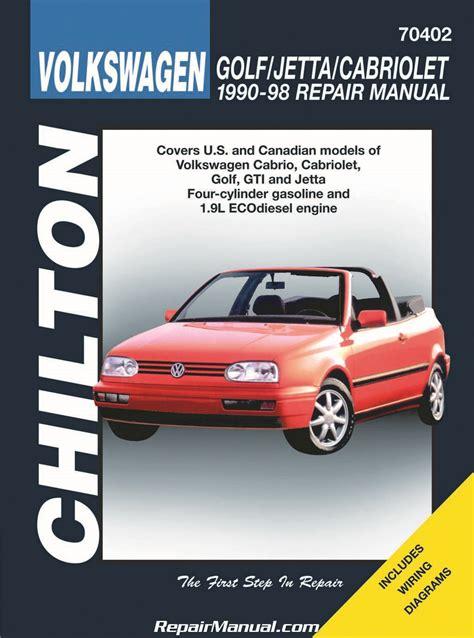 car repair manuals download 1996 volkswagen jetta auto manual chilton volkswagen cabrio cabriolet golf gti jetta 1990 1998 repair manual