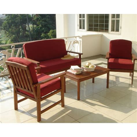 delahey 4 piece wooden chat set with burgundy cushions