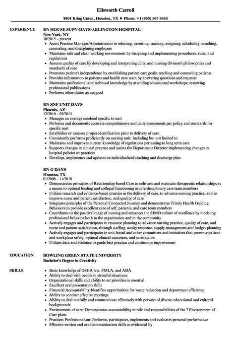 Exle Of Rn Resume by Days Rn Resume Sles Velvet