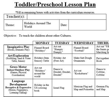 preschool lesson plan and activities holidays around the 585 | original 2983158 2