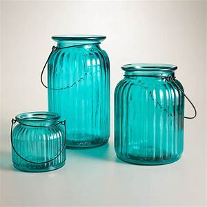 teal ribbed glass lantern candleholder world market With best brand of paint for kitchen cabinets with how to remove wax from glass candle holders