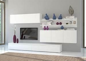 Parete soggiorno Genova, mobile porta tv, soggiorno bianco elegante