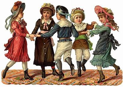 Children Dancing Victorian Ephemera Child Playing Era