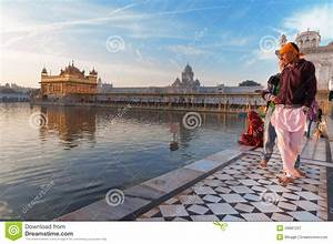 Young Sikh Men Visiting In Golden Temple In The Early ...