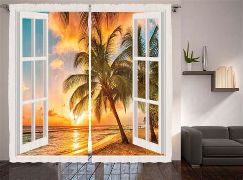 Window View Decor Collection Palm Trees Sunset Scenery