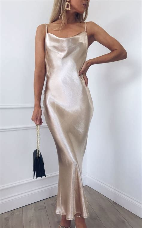 foto de Keisha Slip Midi Dress Gold Pretty Lavish SilkFred