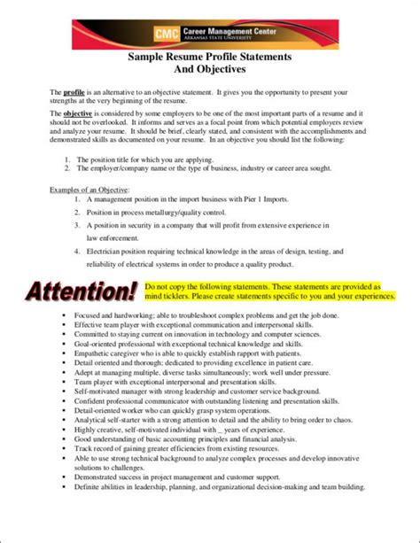 resume   objective difference samples