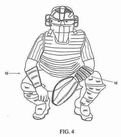 Baseball Catcher Drawing Patents Protective Sleeve