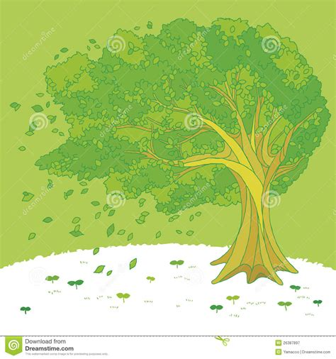 illustration   tree swaying   wind stock vector